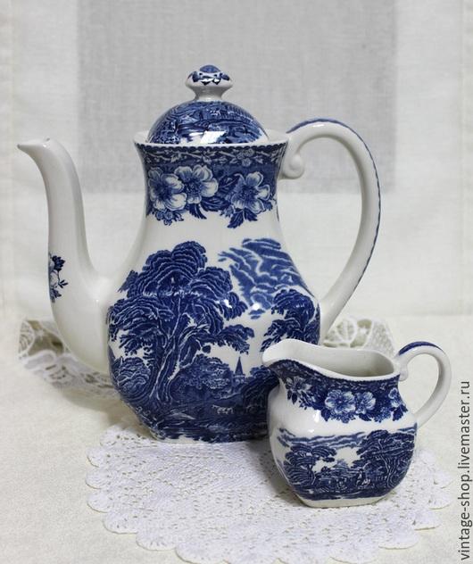 Винтажная посуда. Ярмарка Мастеров - ручная работа. Купить Англия, Wedgwood, чайник и молочник. Handmade. Синий, фарфор из германии, посуда