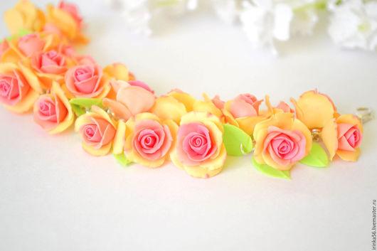 """Браслеты ручной работы. Ярмарка Мастеров - ручная работа. Купить Браслет """"Персиковые розы"""". Handmade. Бежевый, ручная работа, цветы"""