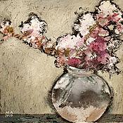 Картины и панно handmade. Livemaster - original item Painting Flowers in a glass vase (black and white, pink, flowers, bouquet). Handmade.