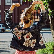 Одежда handmade. Livemaster - original item Denim jacket with print. Painting on fabric. Denim with a pattern. Handmade.
