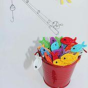 Аппликации ручной работы. Ярмарка Мастеров - ручная работа Рыбка вязаная. Handmade.