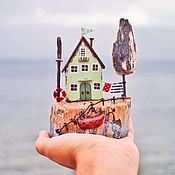 """Для дома и интерьера ручной работы. Ярмарка Мастеров - ручная работа Морская композиция """"Мятный домик"""" driftwood. Handmade."""