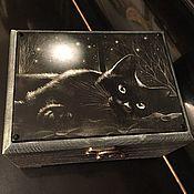 """Для дома и интерьера ручной работы. Ярмарка Мастеров - ручная работа """"Ночью все кошки черные"""". Handmade."""