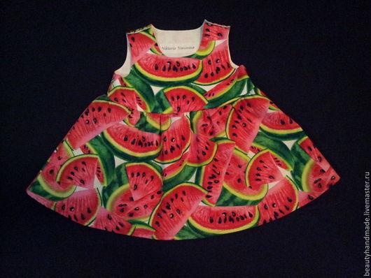 """Одежда для девочек, ручной работы. Ярмарка Мастеров - ручная работа. Купить Платье для девочки """"Арбуз"""". Handmade. Ярко-красный, платье"""