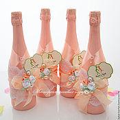 Бутылки ручной работы. Ярмарка Мастеров - ручная работа Свадебное оформление бутылок и бокалов:` в нежных персиковых тонах`. Handmade.