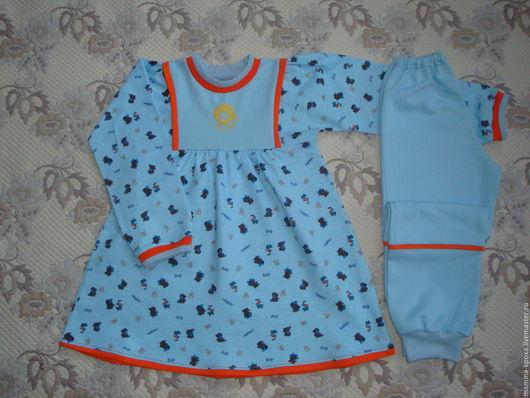 """Одежда для девочек, ручной работы. Ярмарка Мастеров - ручная работа. Купить Комплект для девочки """"Веселые щенки"""". Handmade. Голубой"""