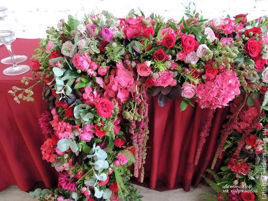 Свадебные цветы ручной работы. Ярмарка Мастеров - ручная работа. Купить Стол молодоженов. Handmade. Бордовый, цветы на свадьбу