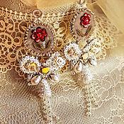 Свадебный салон handmade. Livemaster - original item Embroidered Angelica earrings. Wedding earrings. Handmade.