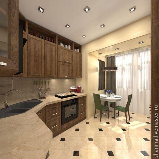 Дизайн интерьера кухни в 3х комнатной квартире, на Дмитровском шоссе. Мария Шанина. Ярмарка Мастеров.