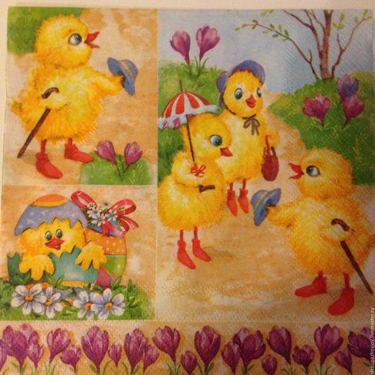Цыплятки солнечные -2 сюжета - салфетка для декупажа  Декупажная радость