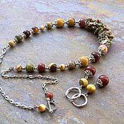 Украшения handmade. Livemaster - original item Jewelry set with of Jasper and unakite. Necklace and earrings. Handmade.