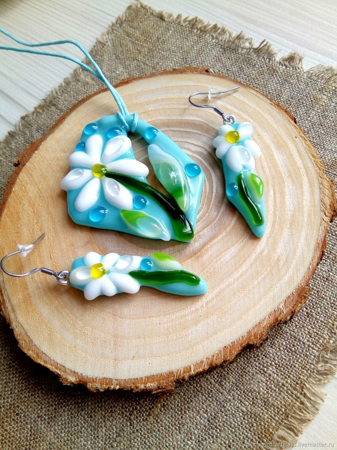 A set of jewelry made of glass Chamomile, the technique of fusing, Jewelry Sets, Khabarovsk,  Фото №1
