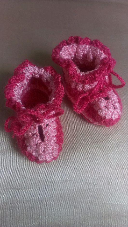 """Для новорожденных, ручной работы. Ярмарка Мастеров - ручная работа. Купить Пинетки """"Дочурка"""". Handmade. Розовый, дети"""
