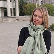 Аксессуары handmade. Livemaster - original item Woven tweed scarf women`s men`s grey-green. Handmade.