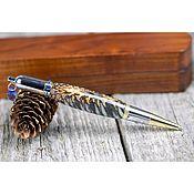 handmade. Livemaster - original item Aurora ballpoint pen with blue crystal in a wooden case. Handmade.