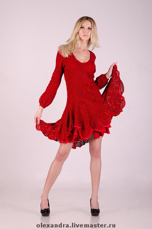 """Платья ручной работы. Ярмарка Мастеров - ручная работа. Купить Платье """"Lady in Red"""". Handmade. Вязаное платье, кружево"""