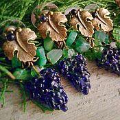 """Серьги классические ручной работы. Ярмарка Мастеров - ручная работа Серьги Лэмпворк, """"Черный виноград"""" муранское стекло. Handmade."""