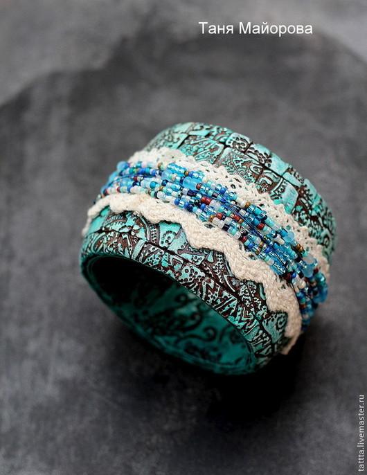 Браслеты ручной работы. Ярмарка Мастеров - ручная работа. Купить браслет из полимерной глины бирюзовый. Handmade. Бирюзовый, коричневый
