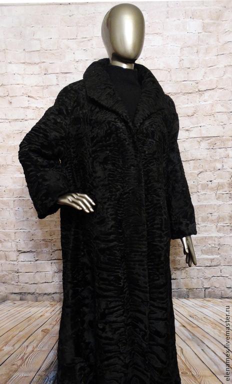 Верхняя одежда ручной работы. Ярмарка Мастеров - ручная работа. Купить Пальто из каракуля swakara. Handmade. Черный, каракуль свакара