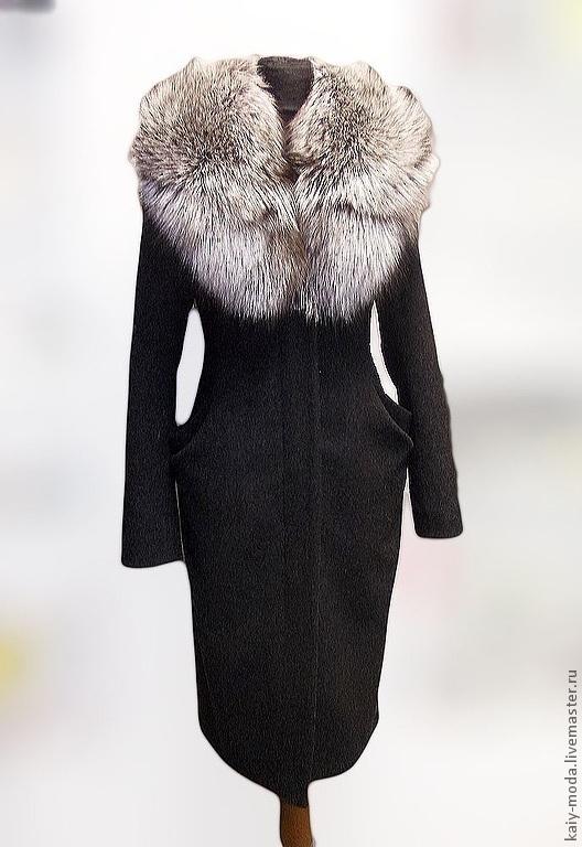 Верхняя одежда ручной работы. Ярмарка Мастеров - ручная работа. Купить Пальто зимнее с меховым вортником из лисы. Handmade.