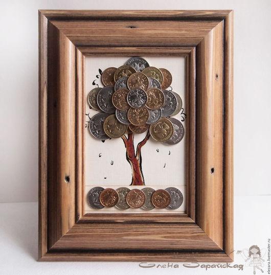 Символизм ручной работы. Ярмарка Мастеров - ручная работа. Купить Денежное дерево из монет в деревянной рамке. Handmade. Денежное дерево