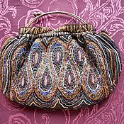 Старинная вечерняя бисерная сумочка, ручная работа, Франция