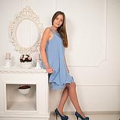 """Одежда ручной работы. Ярмарка Мастеров - ручная работа Платье """"майка"""" голубое. Handmade."""