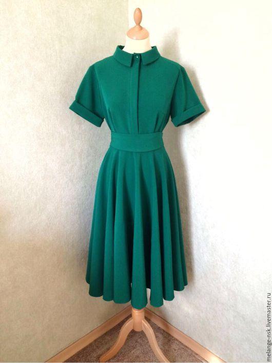 Платья ручной работы. Ярмарка Мастеров - ручная работа. Купить Изумрудное платье-рубашка. Handmade. Тёмно-зелёный, повседневное платье