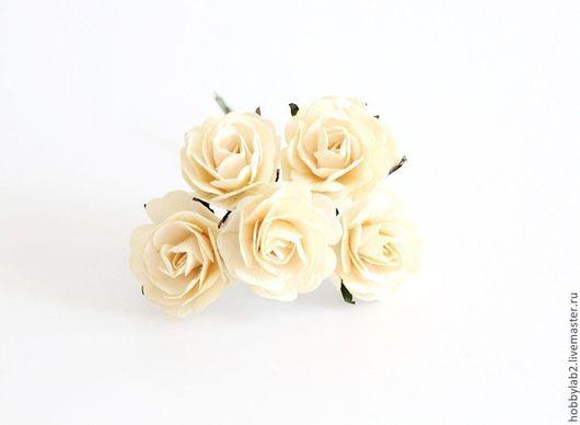 Открытки и скрапбукинг ручной работы. Ярмарка Мастеров - ручная работа. Купить Розы макси  Молочные. Handmade. Цветы бумажные, персиковые