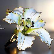 Украшения handmade. Livemaster - original item Large stained glass ring White Lily. Handmade.