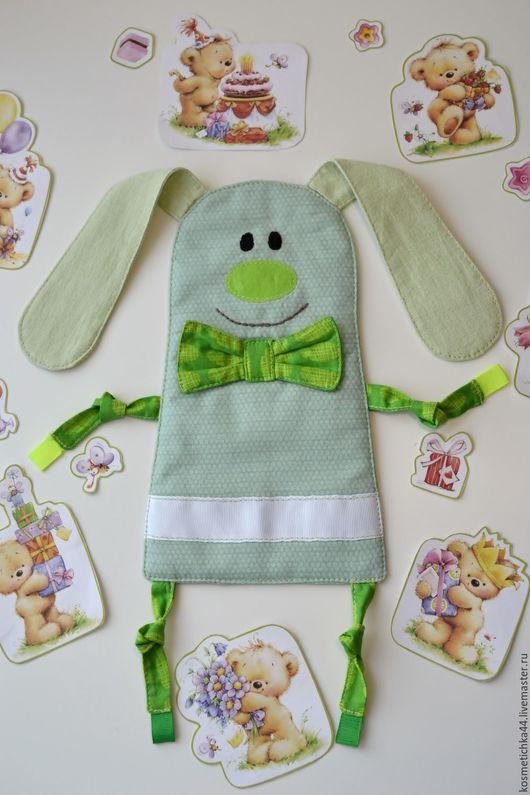 Игрушки животные, ручной работы. Ярмарка Мастеров - ручная работа. Купить Текстильная игрушка для малыша Зайчик Шуршунчик. Handmade. Зеленый