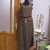 Одежда ручной работы. Ярмарка Мастеров - ручная работа Платье сарафан Монвизо , 100% лен, Италия, бохо. Handmade.