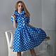 Платья ручной работы. Ярмарка Мастеров - ручная работа. Купить Платье Синий горох. Handmade. Голубой, сделано в россии