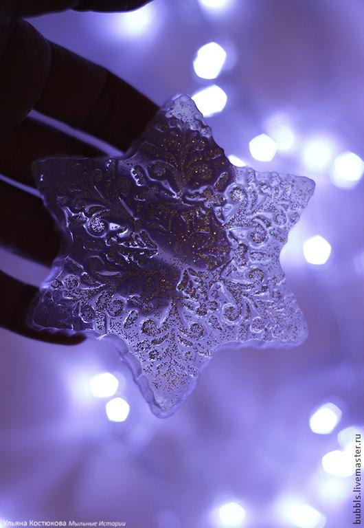 """Мыло ручной работы. Ярмарка Мастеров - ручная работа. Купить """"Снежинка"""". Handmade. Белый, снежинка, сувенирное мыло, Новый Год"""