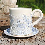 """Посуда ручной работы. Ярмарка Мастеров - ручная работа Чайная пара """"Снежок"""". Handmade."""