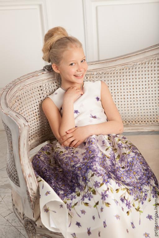 Одежда для девочек, ручной работы. Ярмарка Мастеров - ручная работа. Купить Нежное шелковое платье Фиалка. Handmade. Разноцветный, хлопок