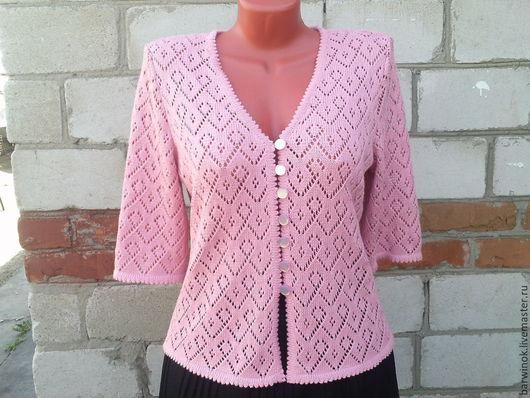 """Пиджаки, жакеты ручной работы. Ярмарка Мастеров - ручная работа. Купить Жакет женский вязаный """" Розовый ажур"""". Handmade."""