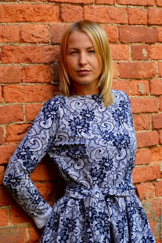 Платья ручной работы. Ярмарка Мастеров - ручная работа. Купить Blue Flowers. Handmade. Синий, платье, сине-белый