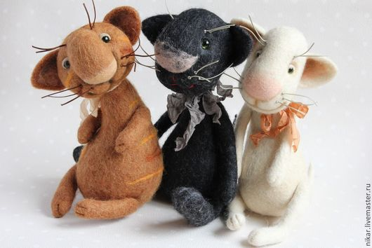 Игрушки животные, ручной работы. Ярмарка Мастеров - ручная работа. Купить Котики валяные. Handmade. Котик, авторские коты