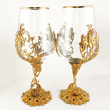 "Посуда. Ярмарка Мастеров - ручная работа Подарочная винная пара ""Цветок"". Златоуст. Handmade."