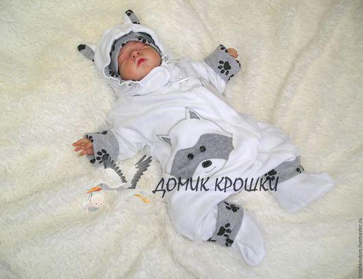 """Одежда унисекс ручной работы. Ярмарка Мастеров - ручная работа. Купить Комплект """"Енотик"""" белый. Handmade. Для новорожденных, белый"""