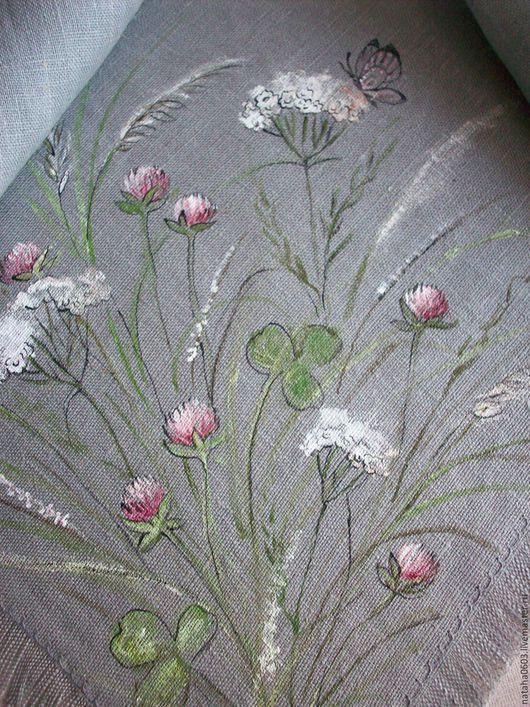 Шали, палантины ручной работы. Ярмарка Мастеров - ручная работа. Купить Льняная косынка с росписью.Полевые цветы.... Handmade. Серый