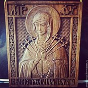 Картины и панно handmade. Livemaster - original item Seven arrows icon of the Mother of God. Handmade.