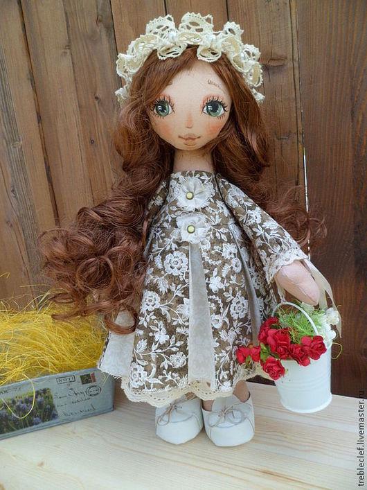 Коллекционные куклы ручной работы. Ярмарка Мастеров - ручная работа. Купить Лира. Handmade. Оливковый, хлопок США, волосы искусственные