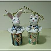"Christmas decorations handmade. Livemaster - original item Ёлочные игрушки ""Кот и кролик"". Handmade."
