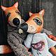 """Игрушки животные, ручной работы. Влюбленные лисы """"Птичка моя"""". Лисье лихолесье. Интернет-магазин Ярмарка Мастеров. Лисы, лён"""