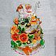 Торт из памперсов с оранжевыми розами (внутри роз конфеты). Вся сборка торта ведется в перчатках, каждый памперс обернут в пленку и защищен от пыли. Варианты:  В нижнем ярусе торта имеется короб, в ко