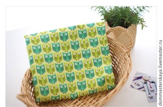 Шитье ручной работы. Ярмарка Мастеров - ручная работа. Купить 100% хлопок, Корея, совы. Handmade. Ярко-зелёный