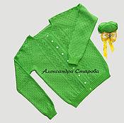 Одежда ручной работы. Ярмарка Мастеров - ручная работа Кофточка ЭКЗОТИКА, связанная спицами из хлопка. Handmade.