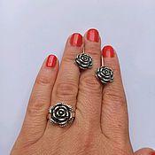 handmade. Livemaster - original item Flower earrings and ring. Silver with blackening 25 proof.. Handmade.